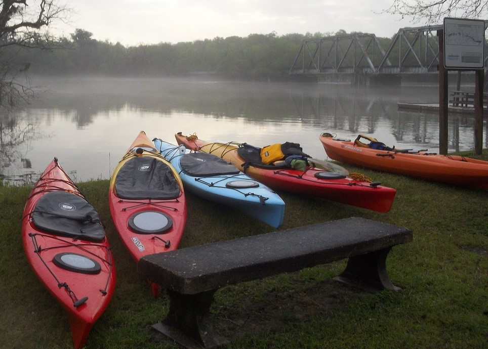 Kayaks at the ready for a Georgia Conservancy paddle on the Altamaha.