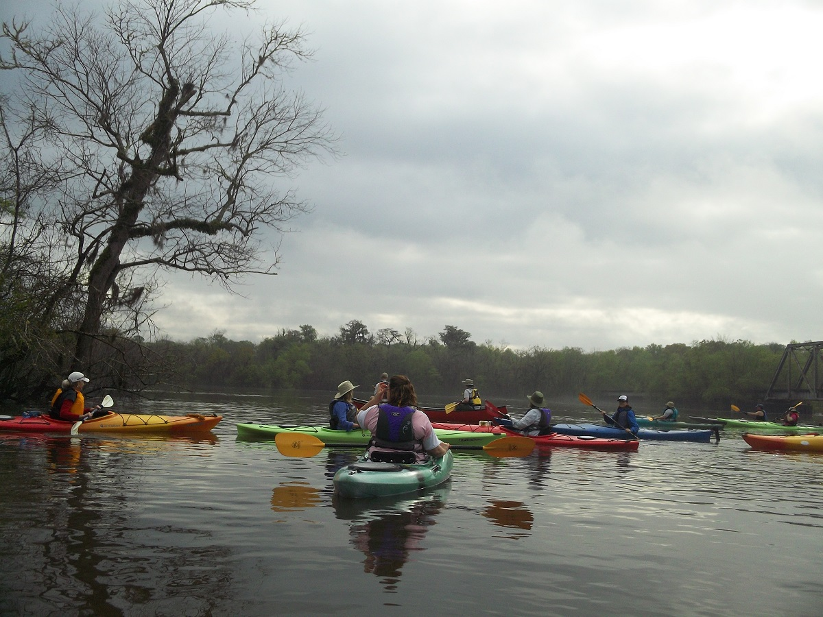 Georgia Conservancy paddlers get instructions on crossing the flooded Altamaha