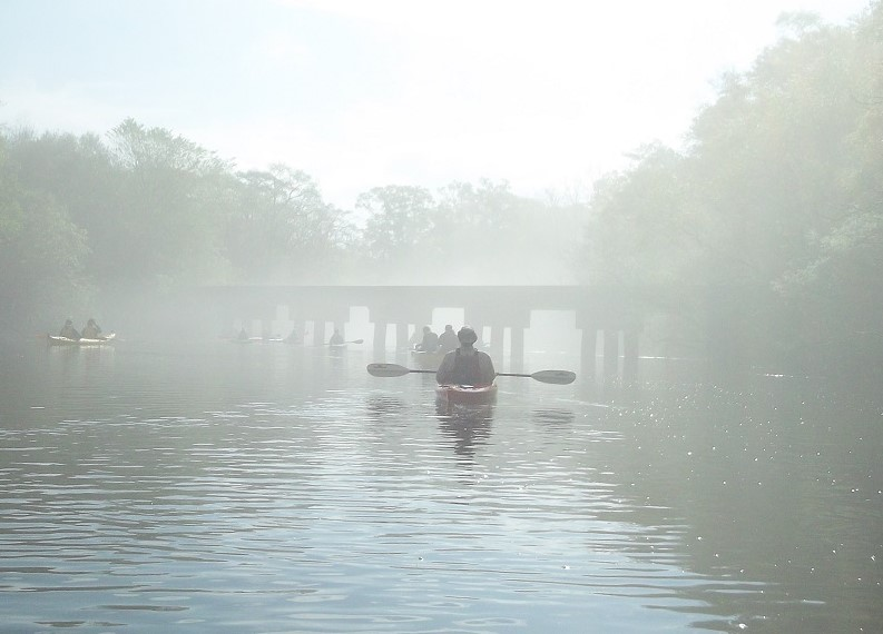 An eerie view of an abandoned bridge awaited Georgia Conservancy paddlers.