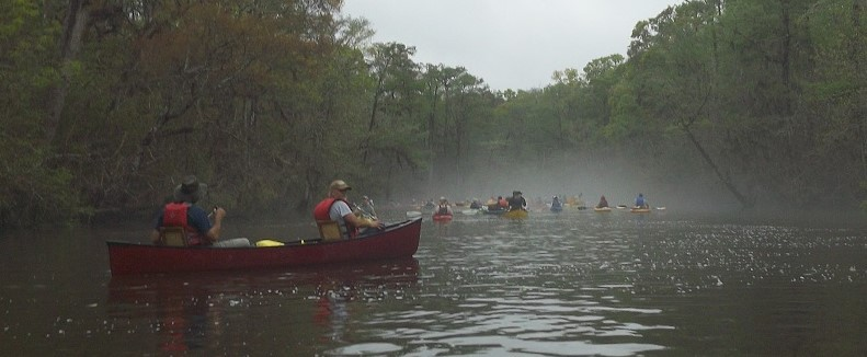 Safe from the strainers, the Georgia Conservancy paddlers head back to the Altamaha