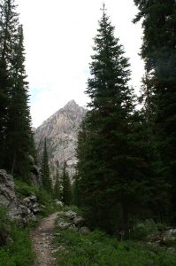 Heading up the trail in the South Fork of Cascade Canyon in the Tetons